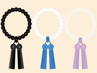 略式数珠:黒玉・真珠・水晶